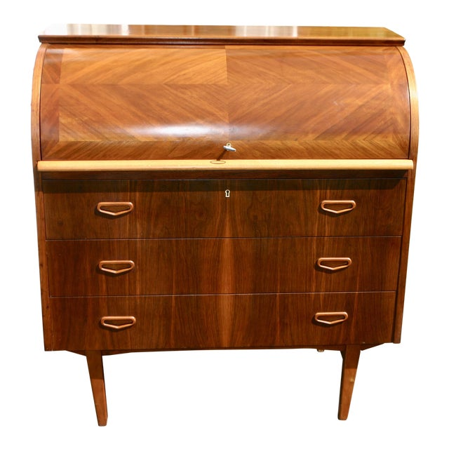 20th Century Danish Modern Rosewood Cylinder Desk For Sale