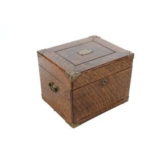 Antique Oak Box With Brass Hardware