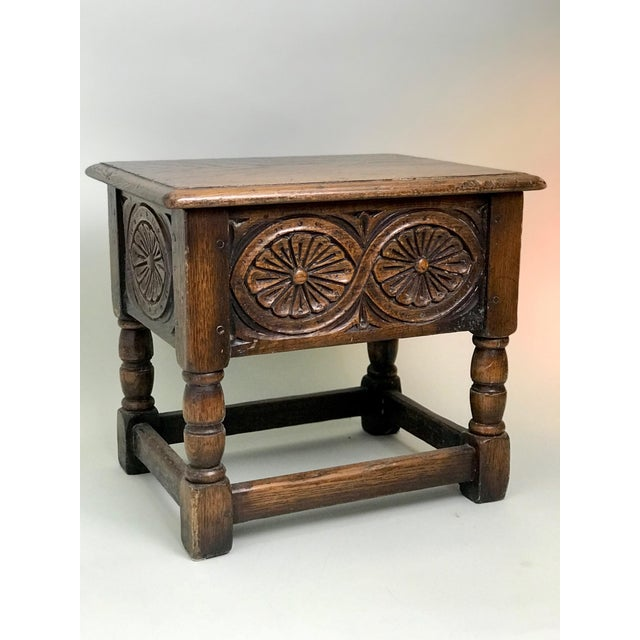 Brown 19th Century Traditional Oak Joint Stool/ Bible Box For Sale - Image 8 of 8
