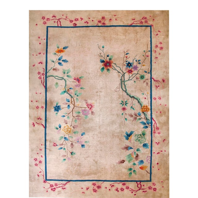 1920s Antique Chinese Art Deco Rug-9′ × 11′9″ For Sale