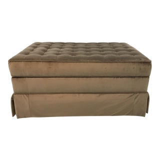 Transitional Henredon Brown Velvet Tufted Storage Ottoman For Sale