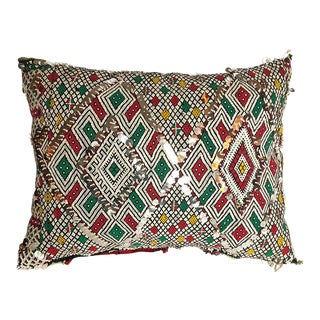 "Vintage Moroccan Evil Eye Diamond Pillow - 18"" X 13"" For Sale"
