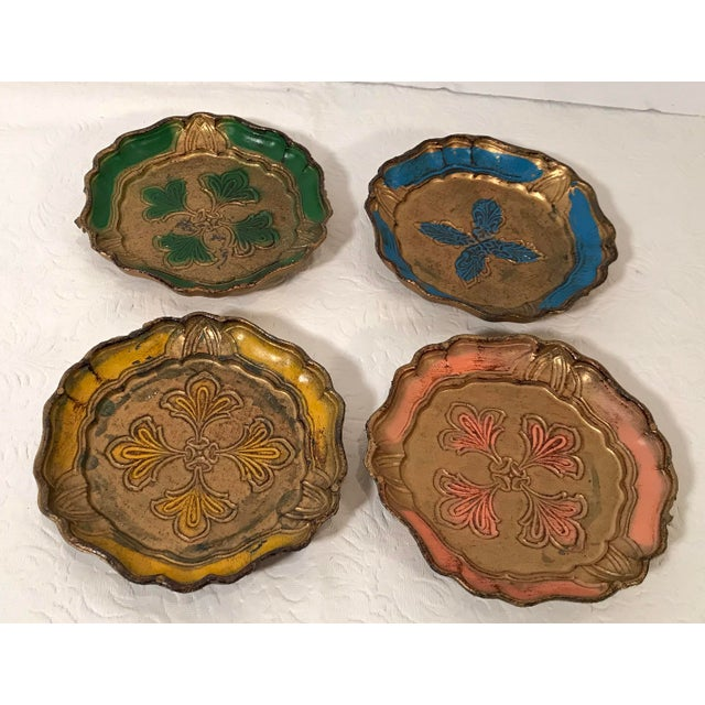 Mid 20th Century Vintage Italian Florentine Coasters - Set of 4 For Sale - Image 5 of 5