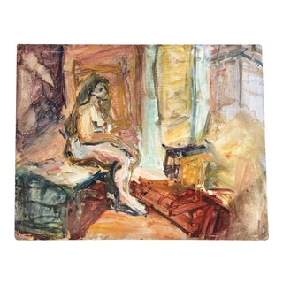 Vintage Original Abstract Expressionist Female Nude Interior Painting For Sale