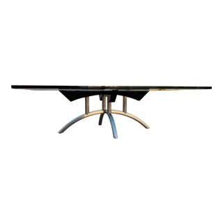 Mid-Century Modern Stainless Steel Sculptural Base Rectangular Glass Top Custom Low Table by Brueton For Sale