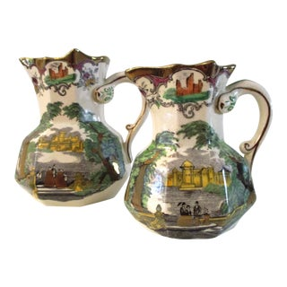 1930s English Mason's Ironstone Pitchers - a Pair For Sale