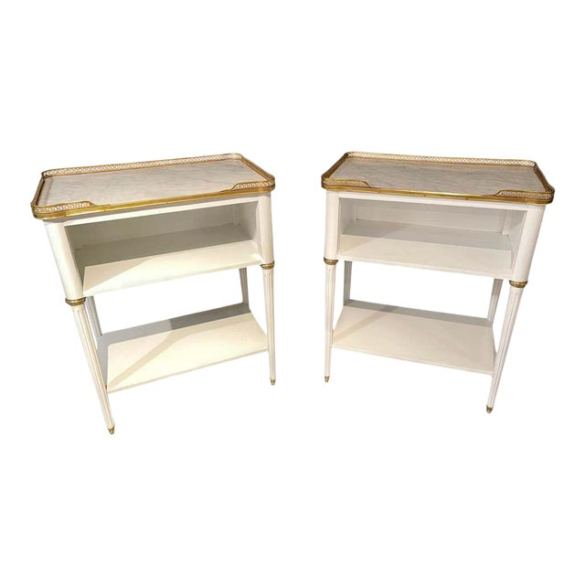 Pair of Swedish Neoclassical Open Nightstands or End Tables Manner Jansen For Sale