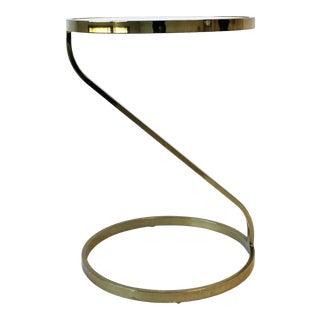 Modern Round Brass and Glass Drinks, Side or End Table For Sale