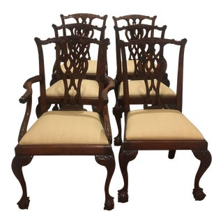 19th C. Vintage Chippendale Style Mahogany Chairs- Set of 6 For Sale