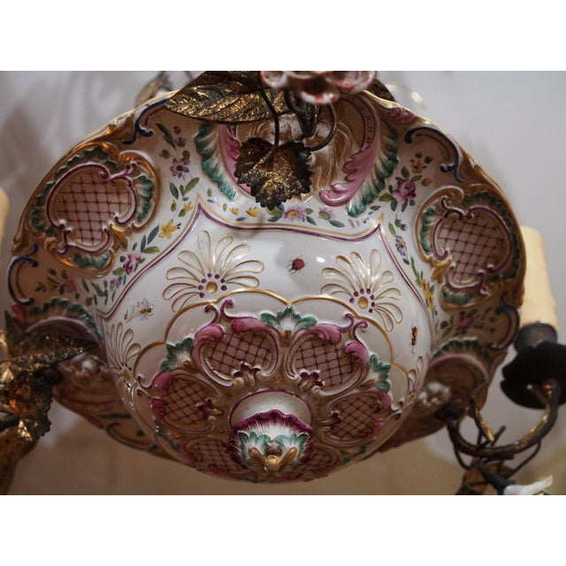 French Antique French Porcelain Chandelier For Sale - Image 3 of 7