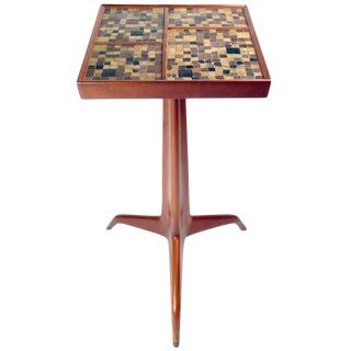 Dunbar Sculpted Mahogany & Murano Glass Cigarette Table For Sale