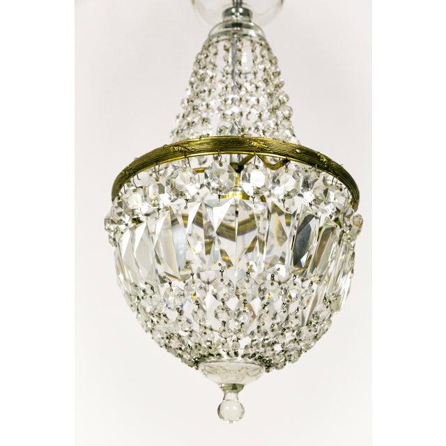 Hollywood Regency Petite Crystal Basket Chandeliers (Pair) For Sale - Image 3 of 10