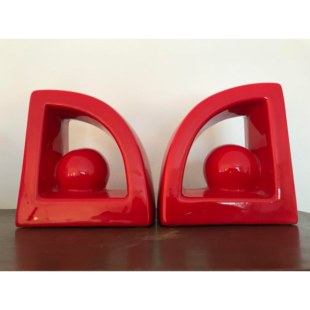 Contemporary Postmodern Jaru Red Ceramic Bookends - a Pair For Sale - Image 3 of 7