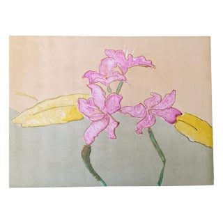 Vintage 1960s Pink Orchids Original Monotype For Sale