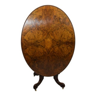 19th-Century Burl Elm and Mahogany Oval Tilt Top Table For Sale
