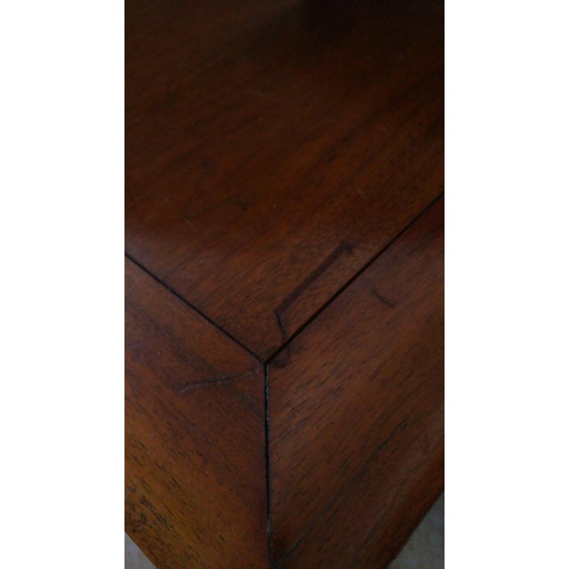 Mid-Century Modern Tiered Walnut Side Tables - Pair - Image 6 of 8