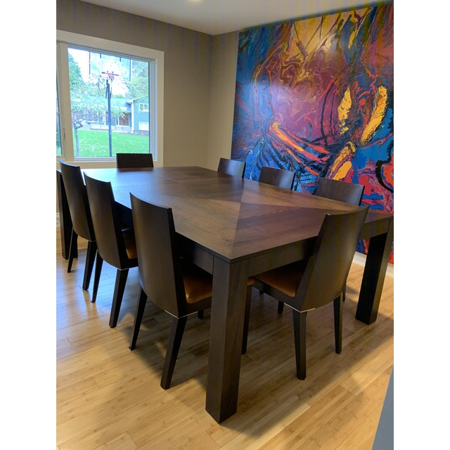 Wood Modern Dining Table & Leather Chairs For Sale - Image 7 of 9