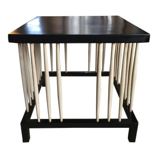 Contemporary Ebonzied Wood Square Top Side Table For Sale