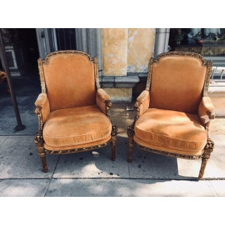 19th Century Italian Carved Giltwood Arm Chairs- a Pair Preview