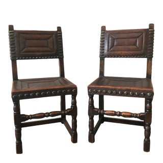 Antique Continental Leather Side Chairs - a Pair For Sale