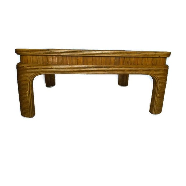 Vintage Split Reed Bamboo Coffee Table - Image 4 of 8