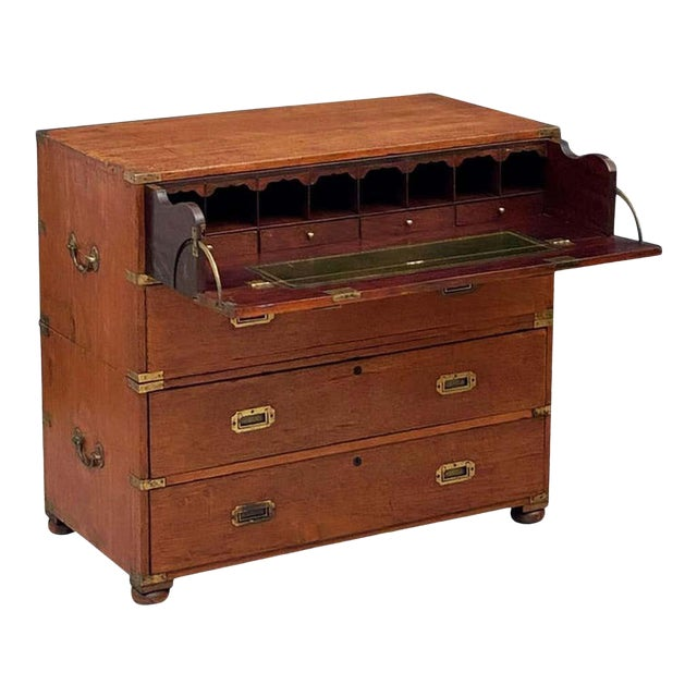 English Officer's Campaign Chest Secretaire of Teak and Brass For Sale