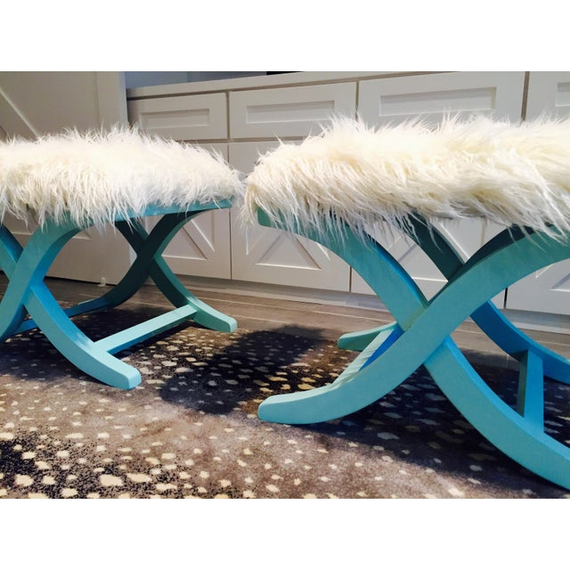 Aqua/Teal X-Benches with Faux-Mongolian Fur - Pair - Image 3 of 9