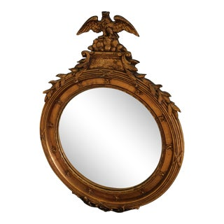 """Vintage Federal Style Eagle Mounted Bulls Eye Convex Mirror 22""""w X 31""""h For Sale"""