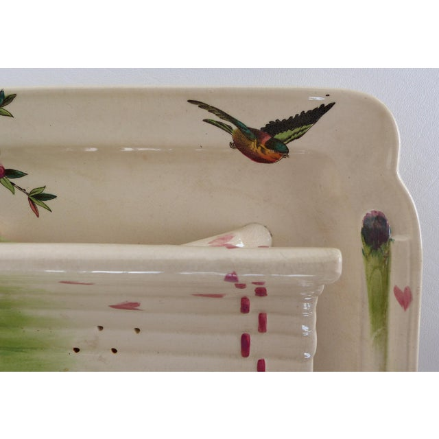 19th Century French Faience Asparagus Strainer & Attached Serving Dish For Sale - Image 10 of 13