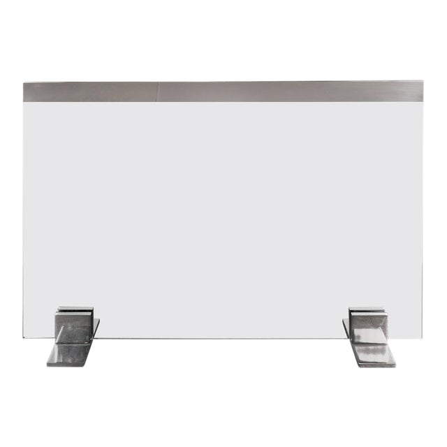 Custom Modern Tempered Glass Fire Screen with Polished Nickel Strip and Feet For Sale