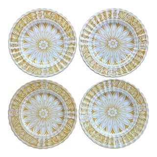 20th Century Boho Chic Meakin Yellow Floral Medici Print English Plates - Set of 4 For Sale