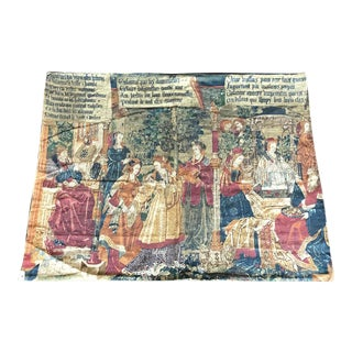 1900s Old English Tapestry Stamp With Latin Scripts For Sale