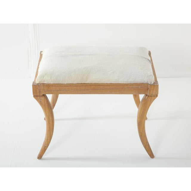 Cerused Oak and White Pony Hide Ottoman, in the Style of Jean-Michel Frank For Sale - Image 10 of 10