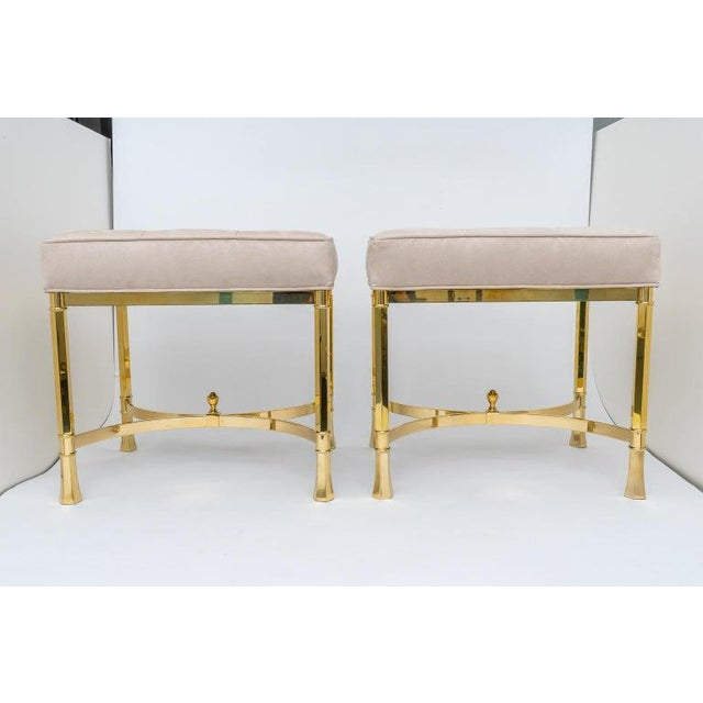 This stylish and chic pair of brass benches date to the 1980-1990s and were created in Italy for Mastercraft furniture and...