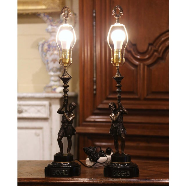 Bronze Pair of 19th Century French Patinated Bronze and Marble Figural Table Lamps For Sale - Image 8 of 13