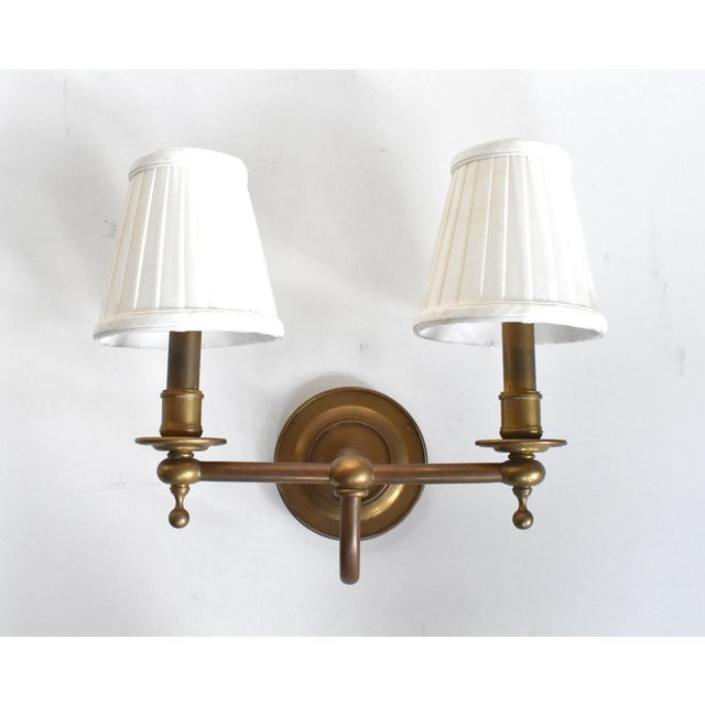 Brass Vintage Brass Double Wall Sconce Lamps With Shades - a Pair For Sale - Image 8 of 10