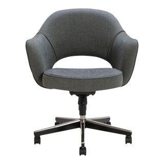 Saarinen Executive Arm Chair in Textured Charcoal Weave, Swivel Base