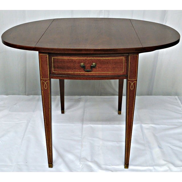 Hickory Chair Co. Oval Wood Side Table with Wings - Image 9 of 11