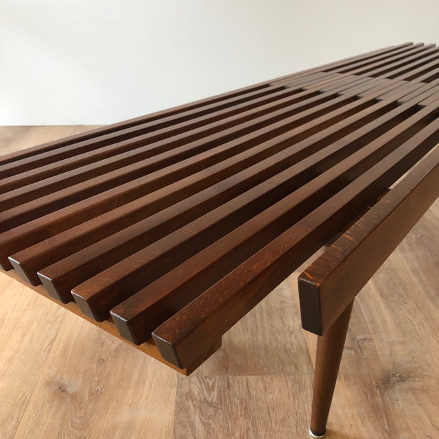1960s 1960s Mid-Century Modern Slat Bench Coffee Table For Sale - Image 5 of 6