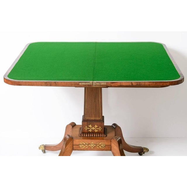 19th Century George IV Rosewood and Brass Games Table For Sale - Image 9 of 11