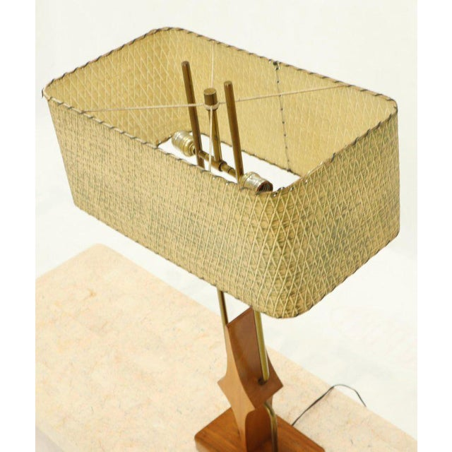 Pair of Walnut and Brass Diamond Pattern Table Lamps For Sale In New York - Image 6 of 13
