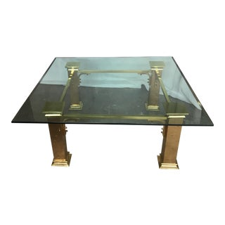 Vintage Brass Glass Coffee Table For Sale