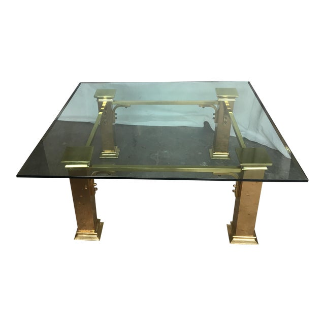 Vintage Brass Glass Coffee Table