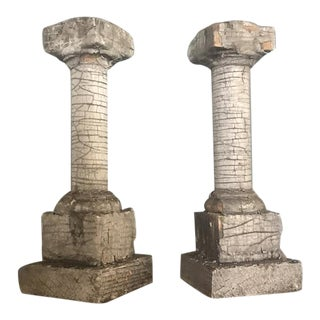 American Primitive Wooden Candlestick Holders - a Pair For Sale