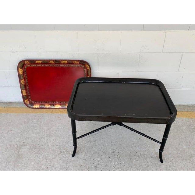 Red Regency Tole Tray Table in Red, Faux Bamboo Ebonized Base For Sale - Image 8 of 12