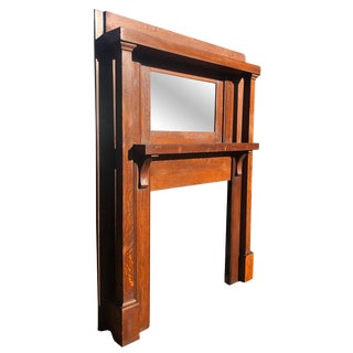 Antique Arts & Crafts Mission Quartersawn Oak Fireplace Mantel With Mirror For Sale