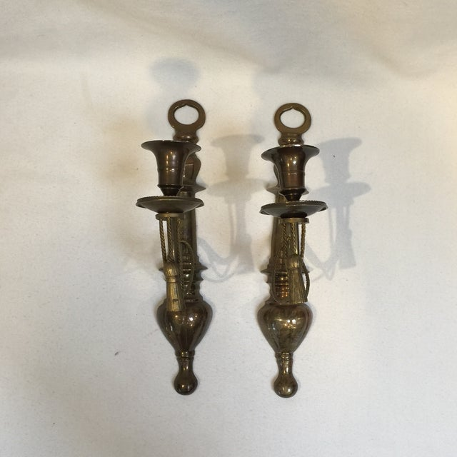 Ormolu Brass Wall Sconce Candle Holders For Sale - Image 10 of 10