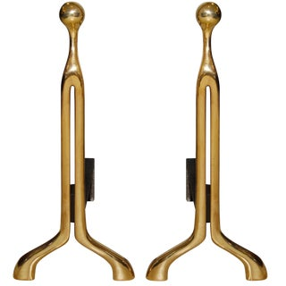 Pair of Caliber Cast Bronze Andirons by Nancy Ruben for Craig Van Den Brulle For Sale