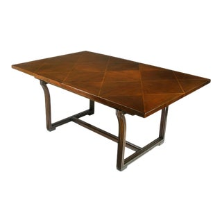 Rare Tommi Parzinger Parquetry Top Mahogany Dining Table For Sale