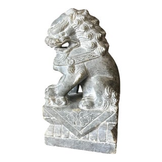 Hand Carved Chinese Soapstone Foo Dog. For Sale